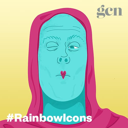 Colorful illustration of artist Thom McGinty, also known as The Diceman. The #rainbowicons logo is running across the lower part of the illustration.