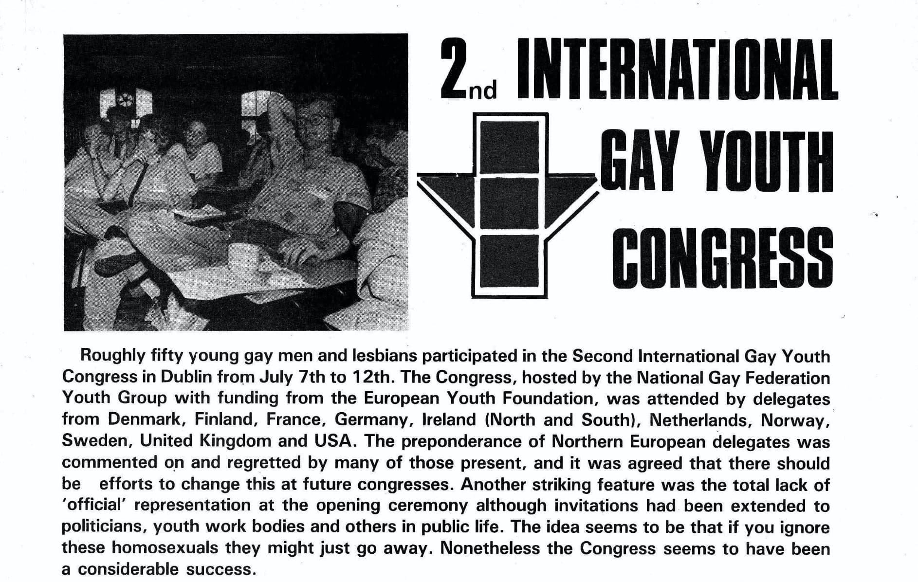 """Taking a look at the history of GCN: black and white magazine article, the headline reads """"2nd International Gay Youth Congress""""."""