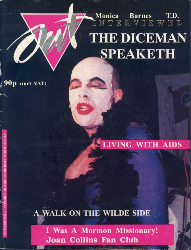 Taking a look at the history of GCN: Cover of Out magazine, issue 7, September/October 1988 featuring performing artist The Diceman wearing white make up and red lipstick.
