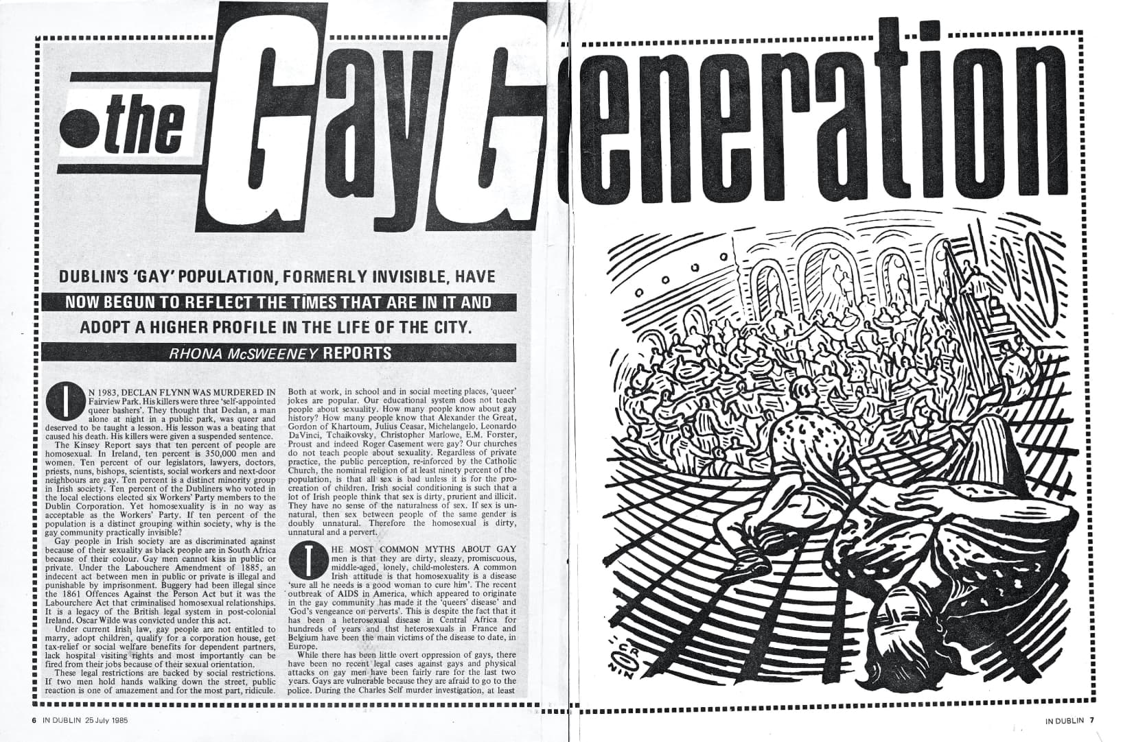 """Taking a look at the history of GCN: black and white magazine article, the headline reads """"the gay generation - Dublin gay population , formely invisible, have now begun the times that are in it and adopt a higher profile in the life of the city""""."""