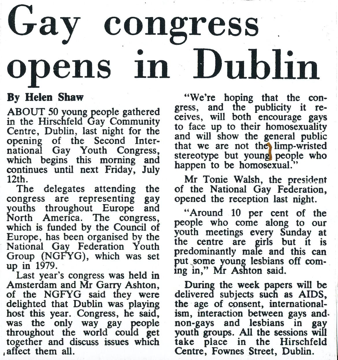 """Taking a look at the history of GCN: Exctract from a GCN article by Helen Shaw. The headline reads """"Gay congress opens in Dublin""""."""