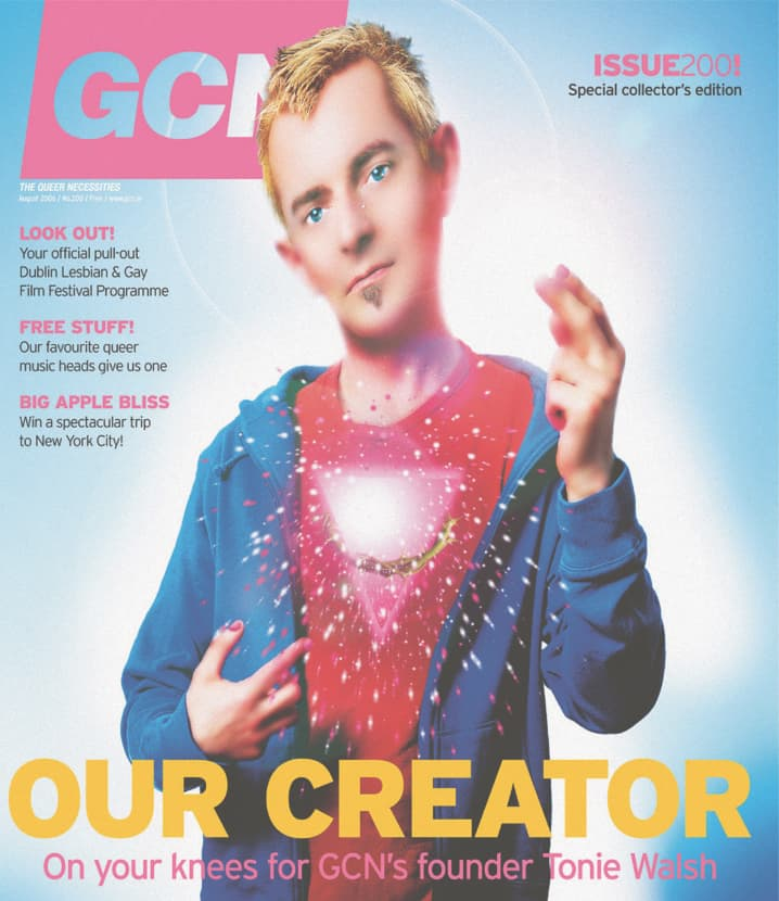 """Taking a look at the history of GCN: Cover of GCN issue 200 featuring GCN's founder Tonie Walsh as a sacred heart in a hoodie with a pink triangle for a heart. The title reads """"Our Creator""""."""