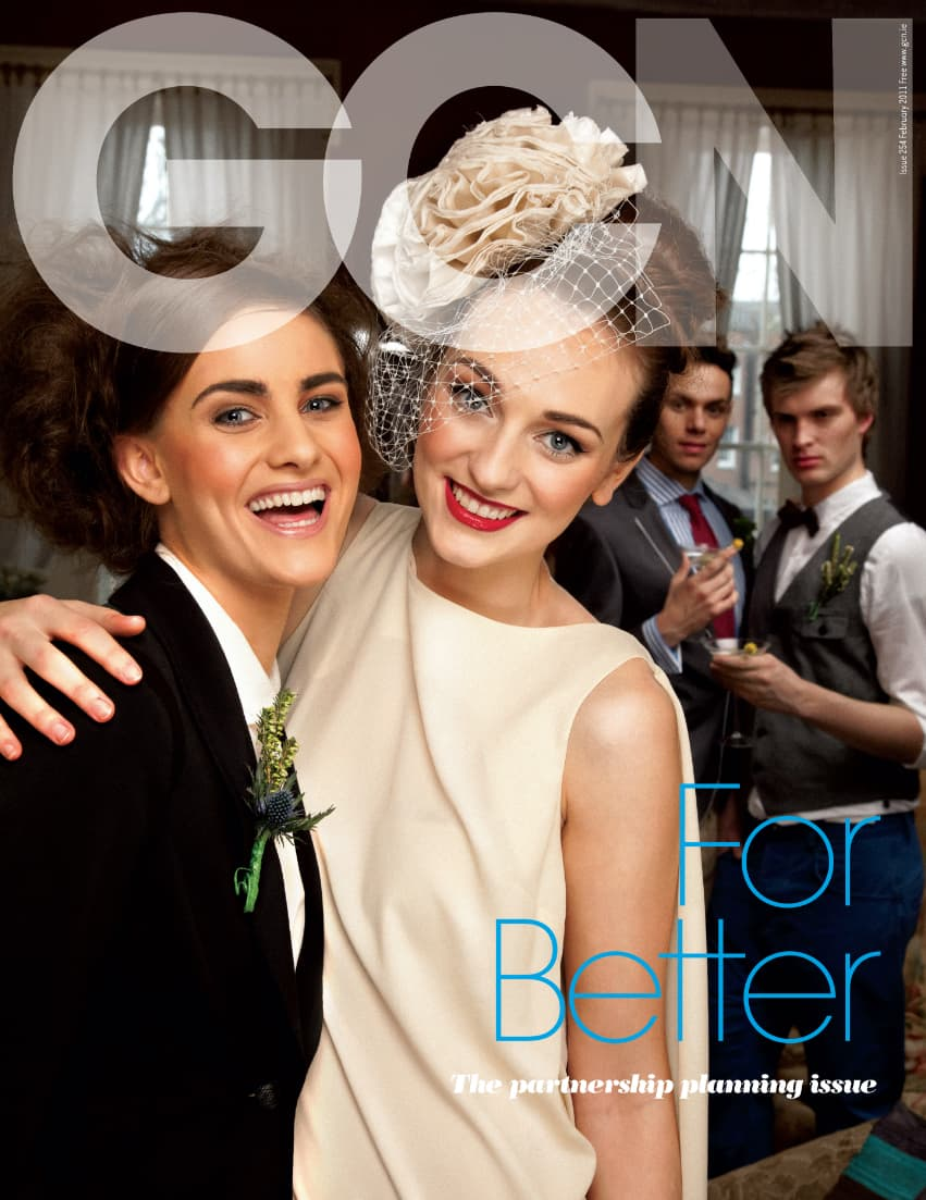 """Taking a look at the history of GCN: Cover of GCN's partnering planning issue titled """"for better"""". The main image features two brides smiling at the camera."""