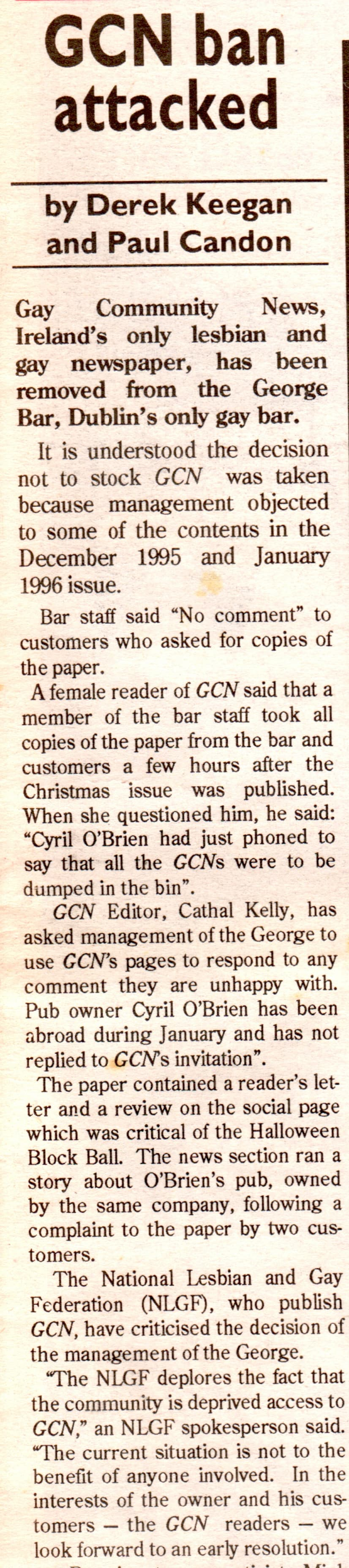 """Taking a look at the history of GCN: Exctract from a GCN article by  Derek Keegan and Paul Candon titled """"GCN ban attacked""""."""