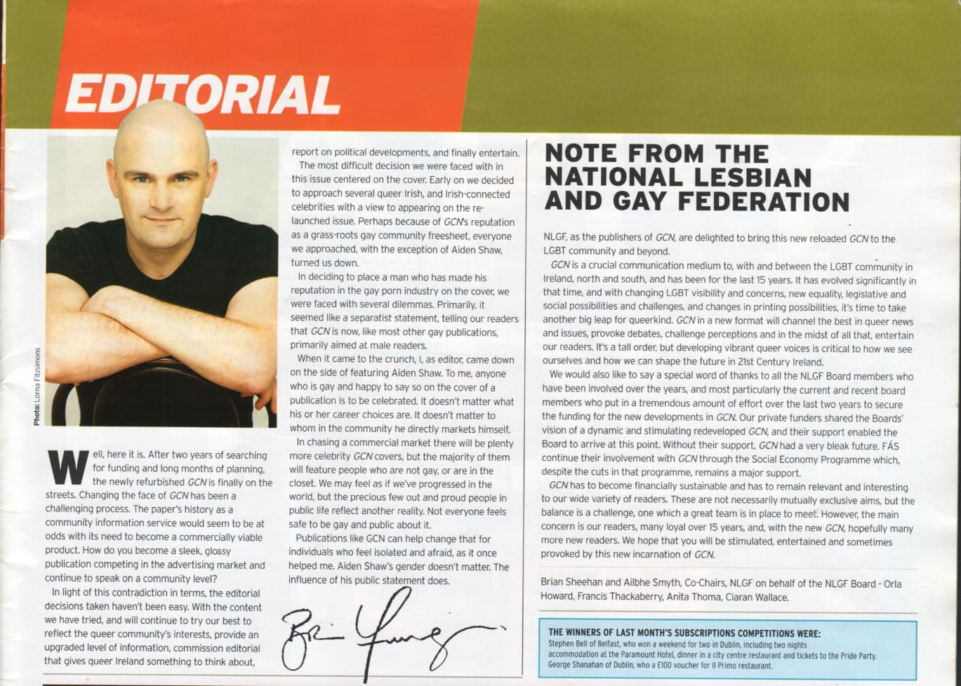 Taking a look at the history of GCN: Exctract from GCN's editorial letter featuring a photo of previous editor Brian Finnegan.