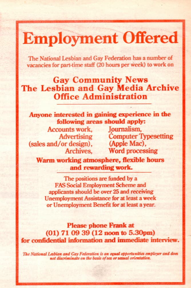 """Taking a look at the production process of GCN: Job advertisement for GCN. The headline reads """"employment offer - Gay Community News The Lesbian and Gay Media Archive Office Administration""""."""