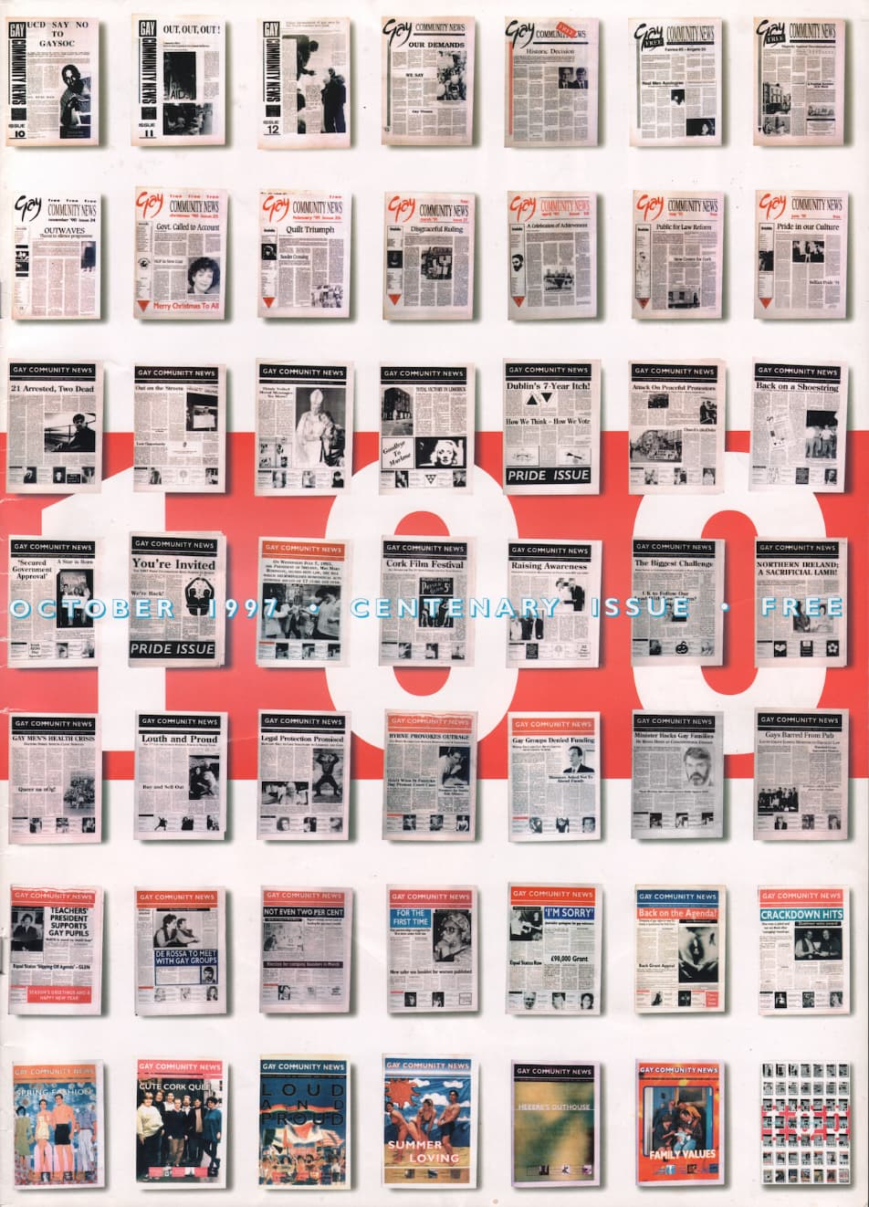 """Taking a look at the production process of GCN: Cover of GCN issue 100 featuring a series of historic covers and the number """"100"""" at the centre of the page."""