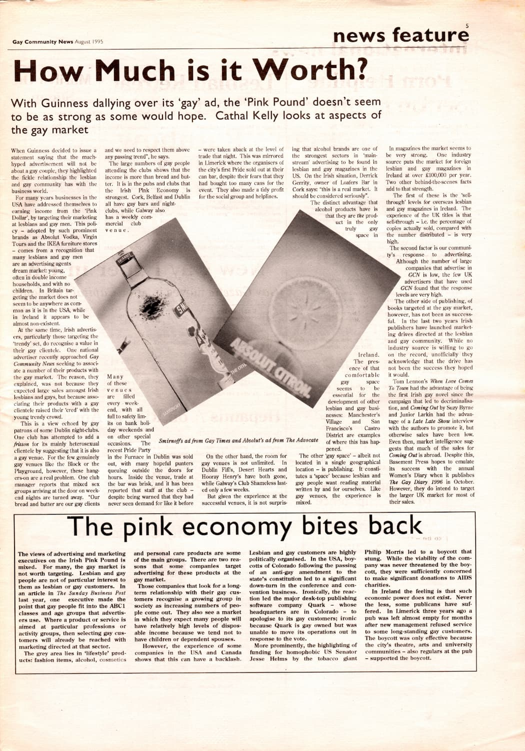 """Taking a look at the production process of GCN: Extract from GCN August 1995's news feature. The main headline reads """"How much is it worth? The pink economy bites back'."""