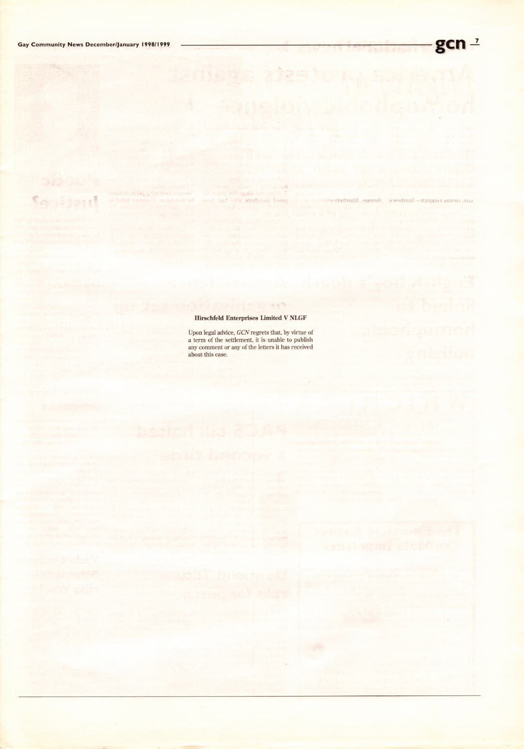 """Taking a look at the production process of GCN: Extract from GCN December/January 1998/1999 - a white page with text on the centre which read """"Hirschfeld Enterprises V NLGF - Upon legal advice, GCN regrets that, by virtue of a term of settlement, it is unable to publish any comment or any of the letters it has received about this case""""."""