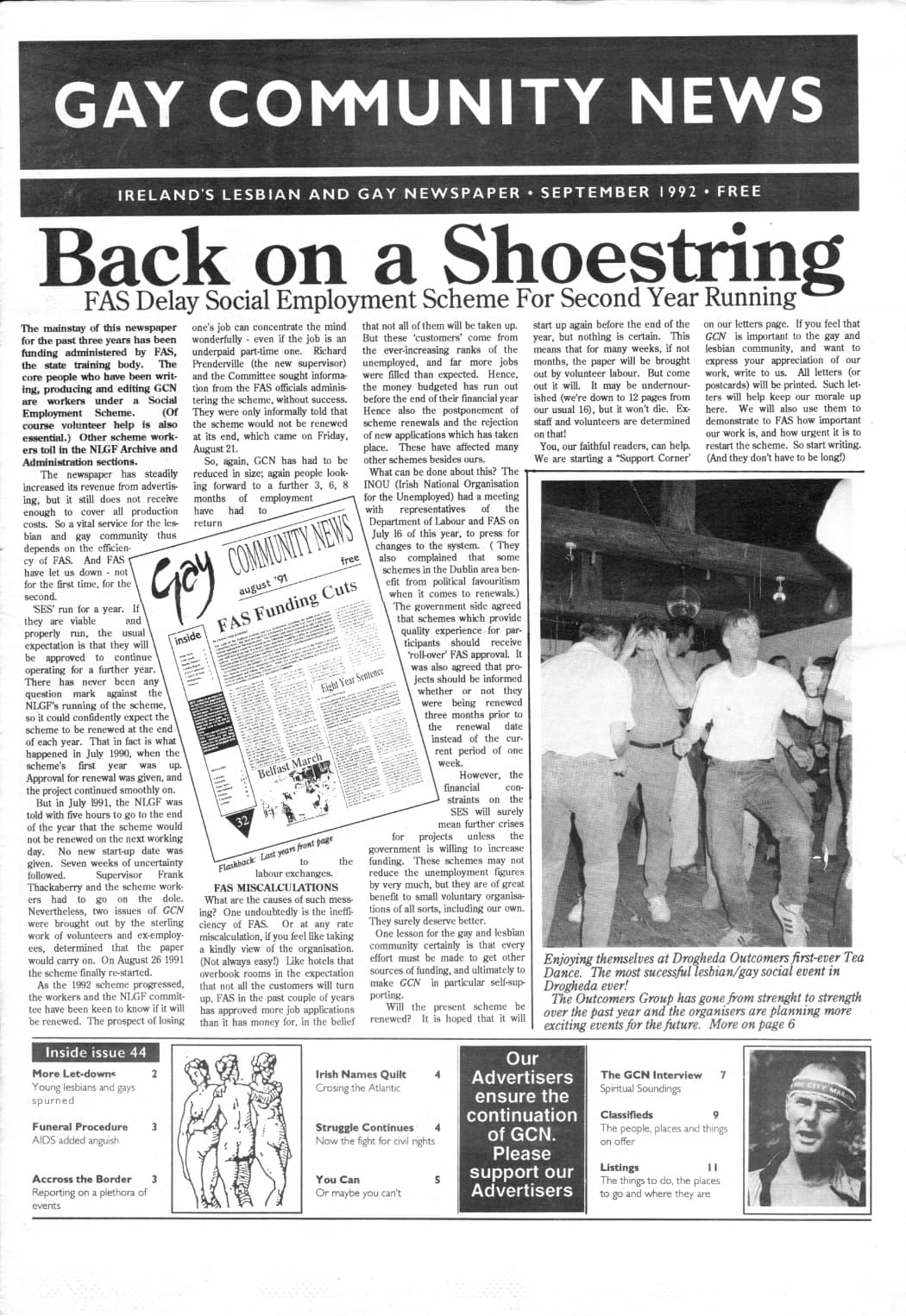 """Taking a look at the production process of GCN: Front page of Gay Community News from September 1992. The main headline reads """"Back on a shoestring""""."""