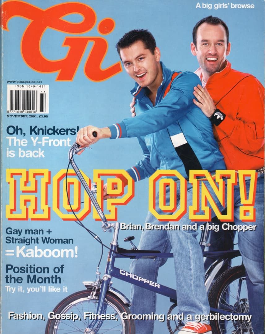 """Taking a look at the production process of GCN: Cover of GI magazine titled """"Hop On! Brian, Brendan and a big Chopper"""" picturing two men on a bike."""