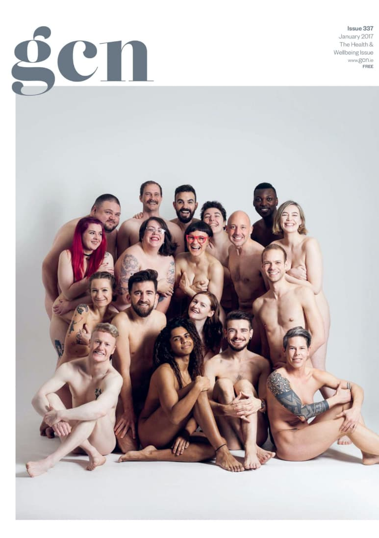 Taking a look at the production process of GCN: Cover of GCN issue 337 featuring several naked people posing in for group shoot.