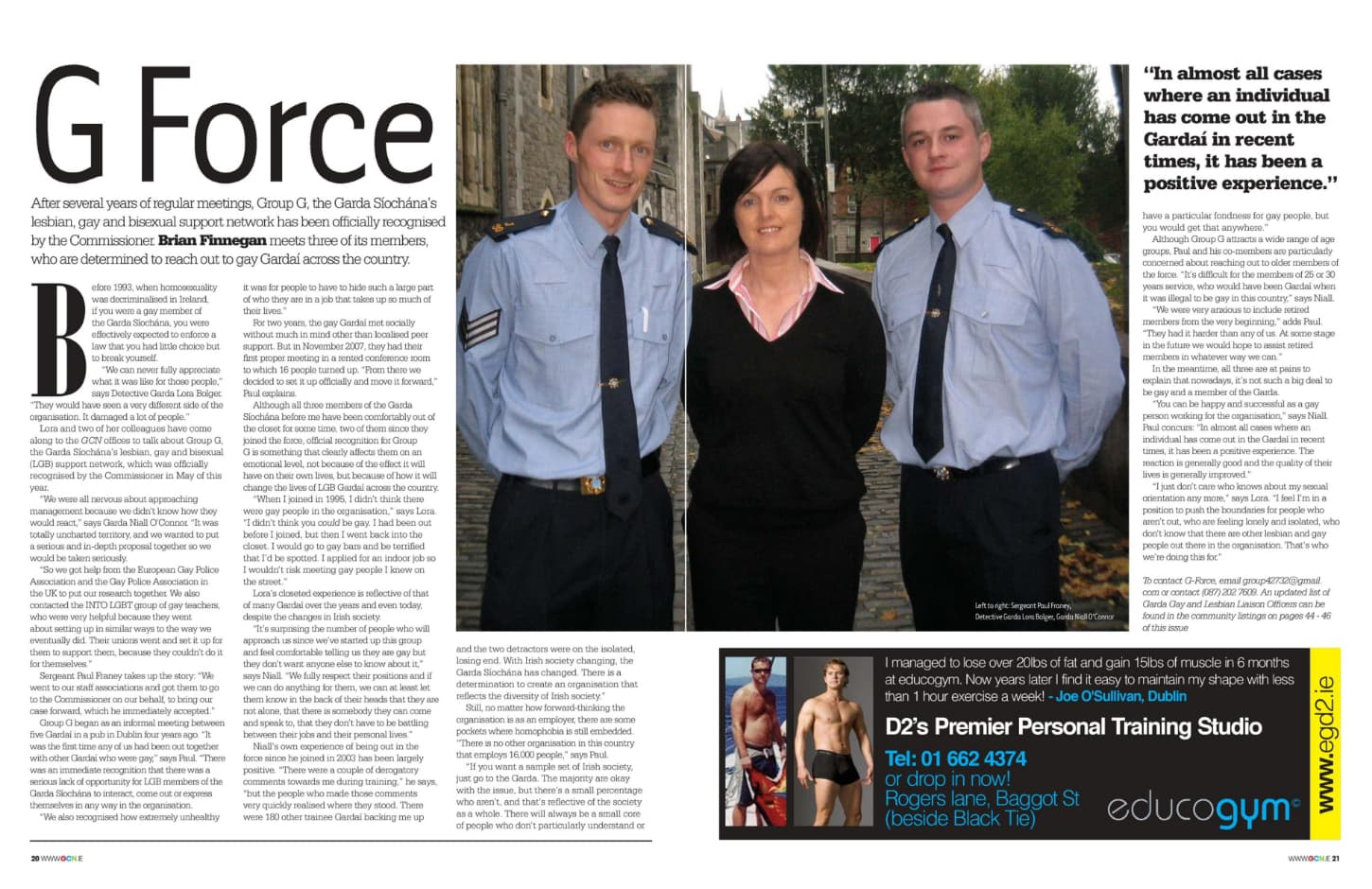 """Taking a look at the production process of GCN: a featured article from the pages of GCN titled """"G Force"""" featuring a photo of two Gardai officers."""