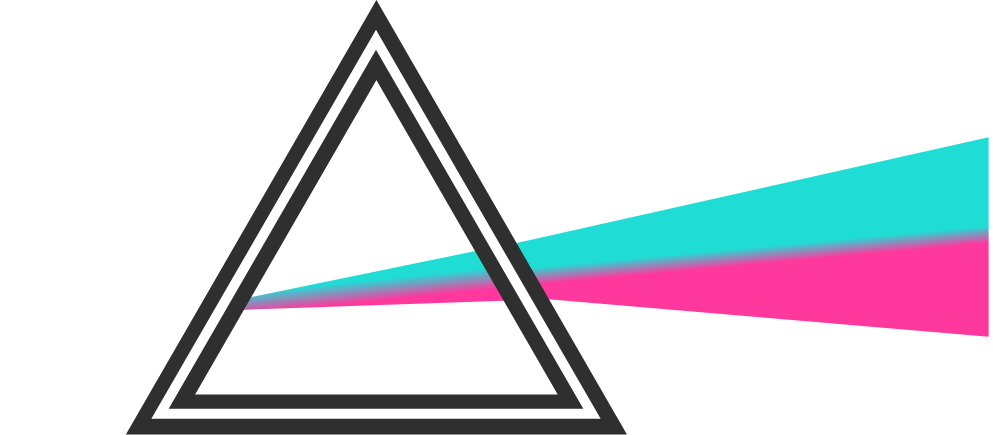 A graphic of a prism with white light entering one side and the exhibition's signature shades of pink and teal light exiting the other side, having been refracted in the prism.