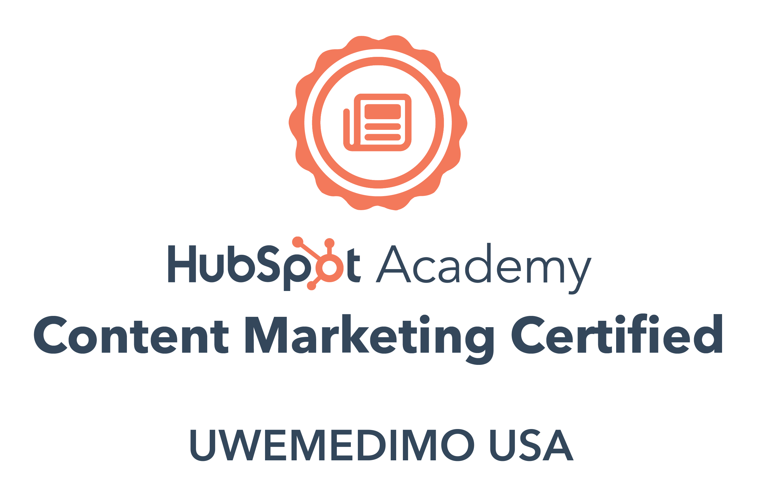 Uwemedimo Usa is content marketing certified by Hubspot