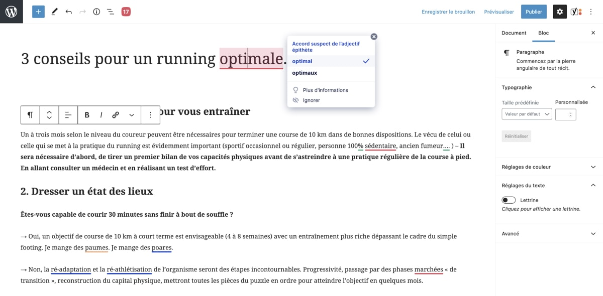 Capture d'écran de MerciApp fonctionnant parfaitement dans  Gutenberg de Wordpressl'éditeur