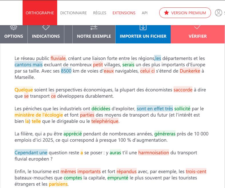 capture d'écran de l'interface de Scribens