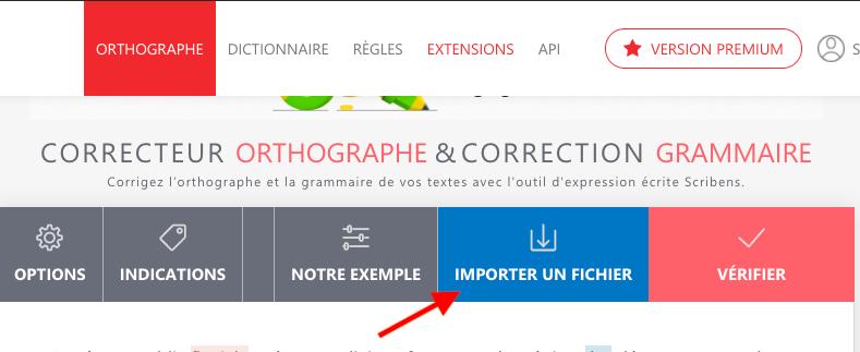 Capture d'écran de la fonctionnalité d'import de Scribens