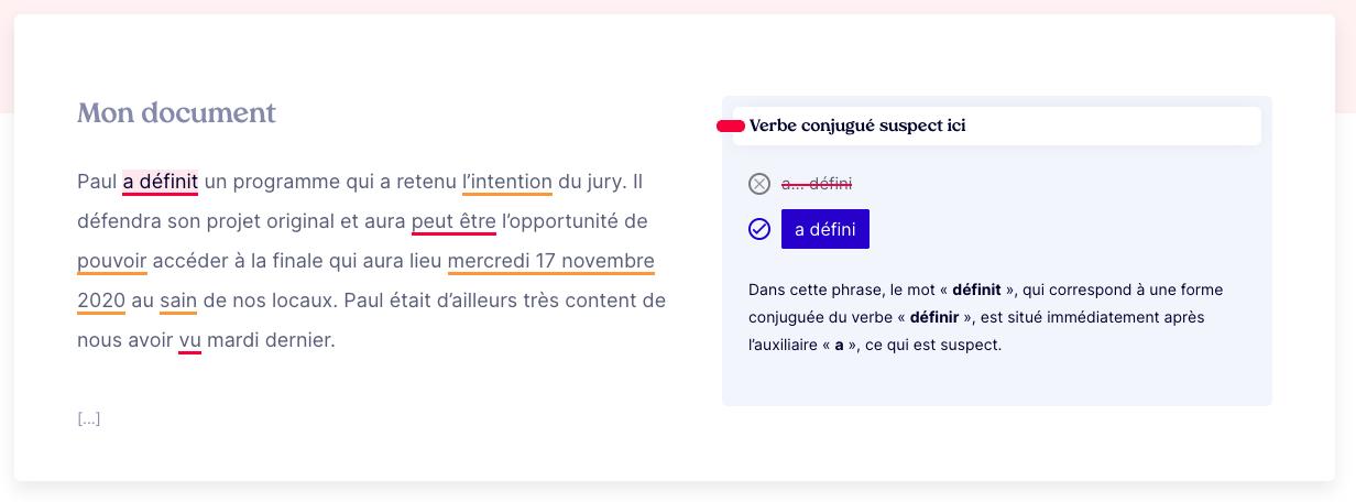 Un aperçu de notre échantillon test dans l'interface de MerciApp