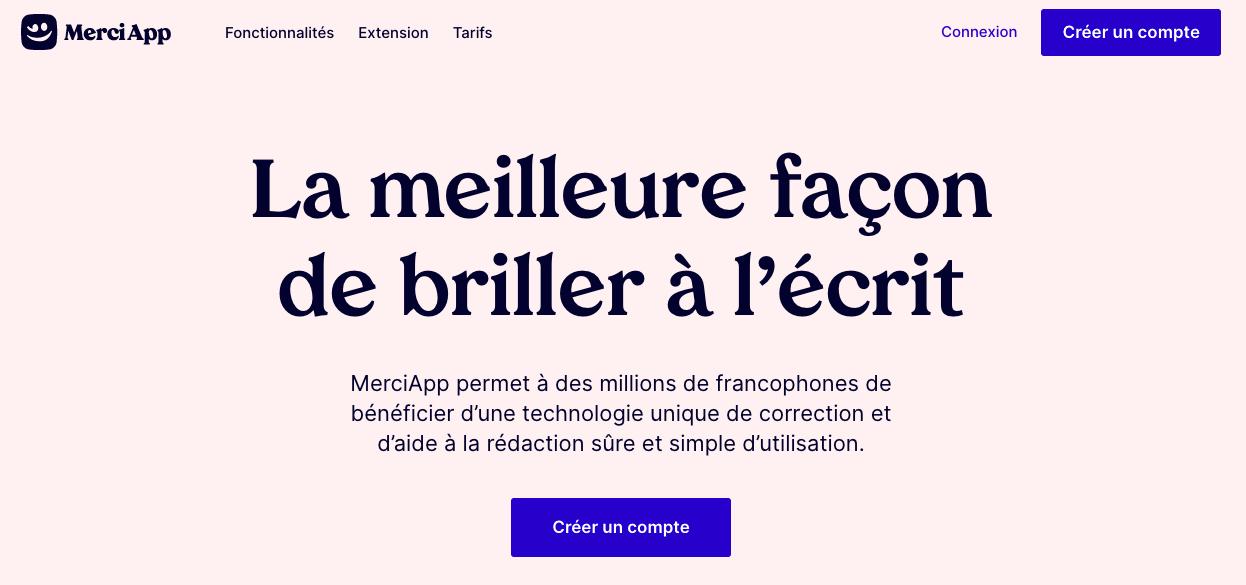 Aperçu de la page d'accueil de MerciApp