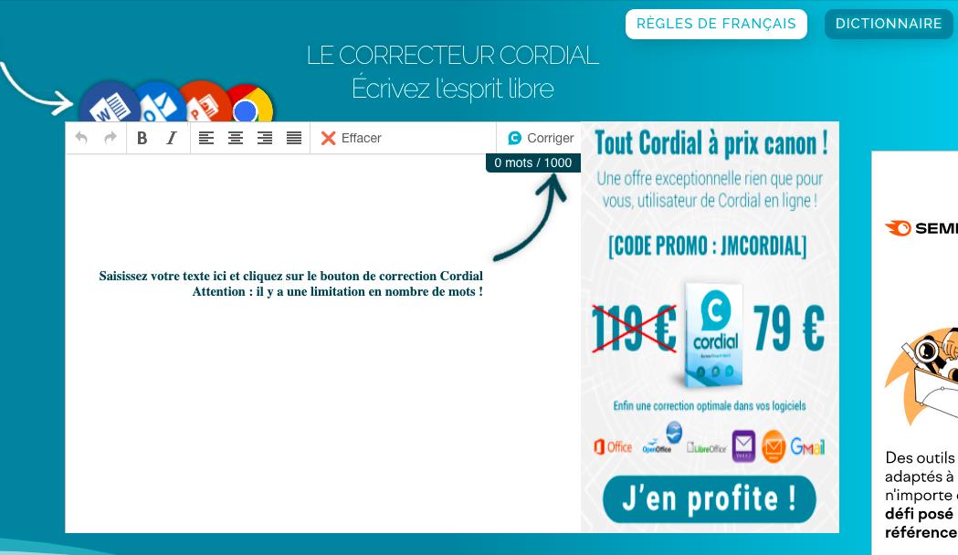 Capture d'écran du correcteur en ligne Cordial