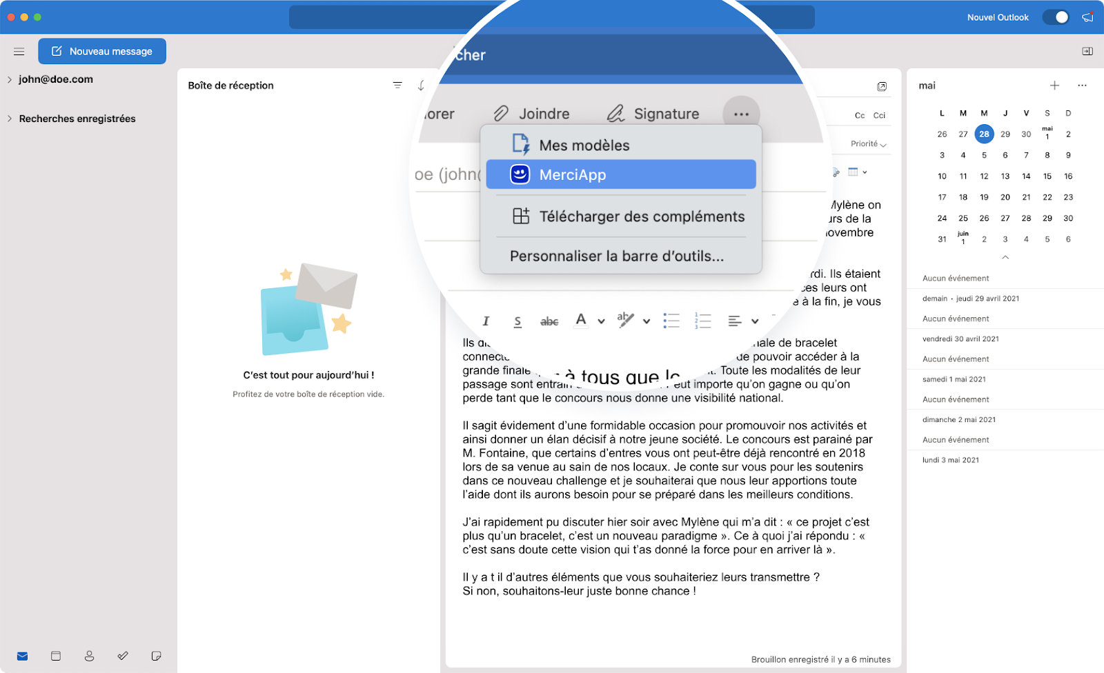 Balise alt : Activer l'extension MerciApp sur Outlook