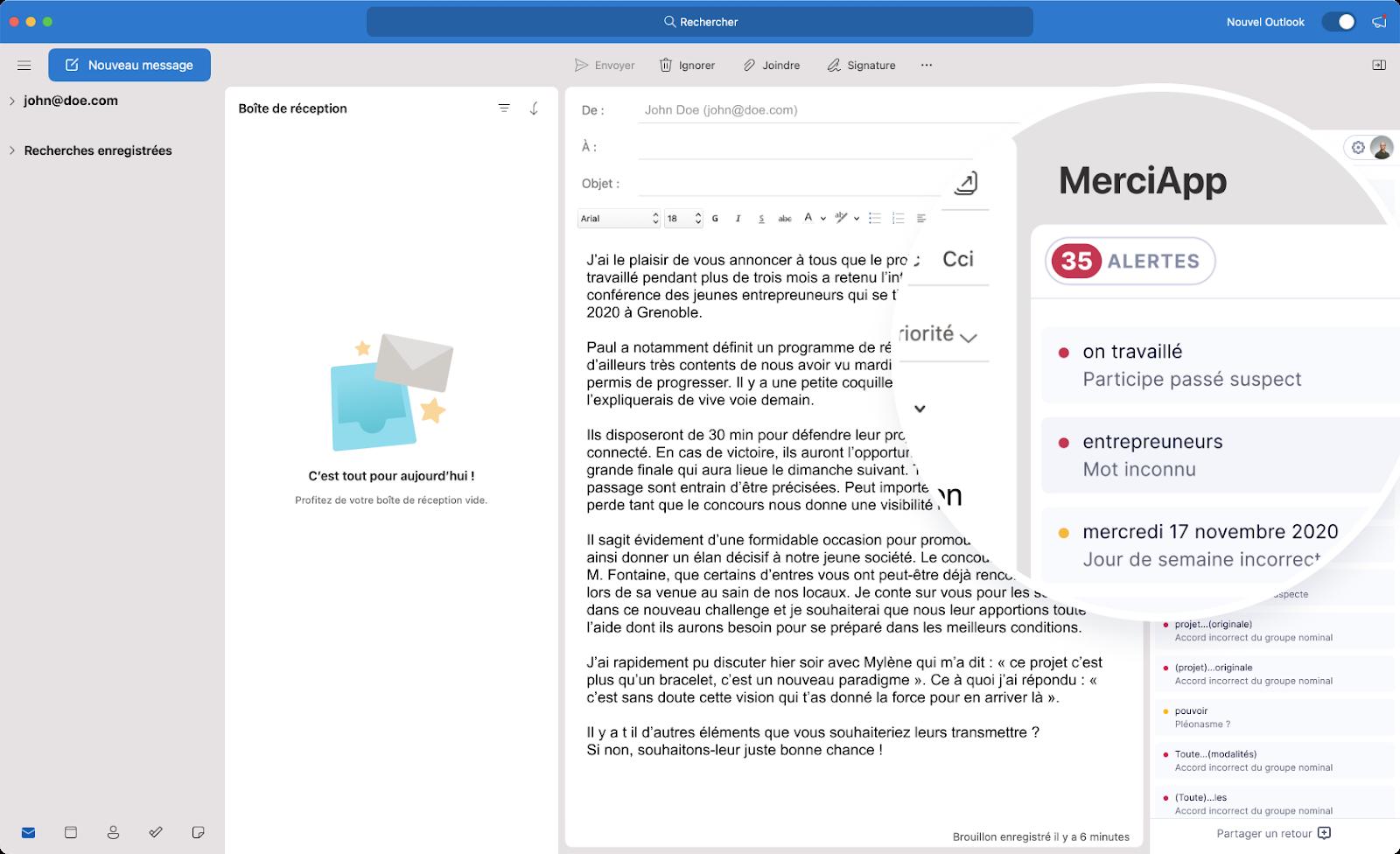 Correction grâce à MerciApp dans Outlook