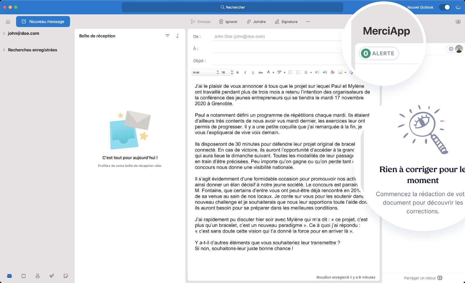Utiliser l'extension de MerciApp pour corriger ses fautes sur Outlook