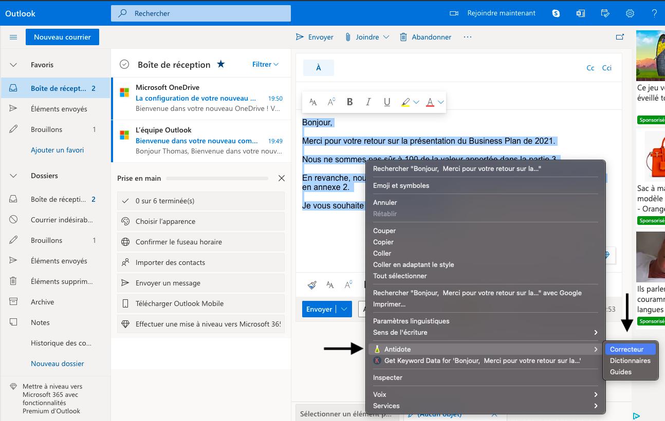 Corriger ses fautes sur Outlook avec le correcteur Antidote