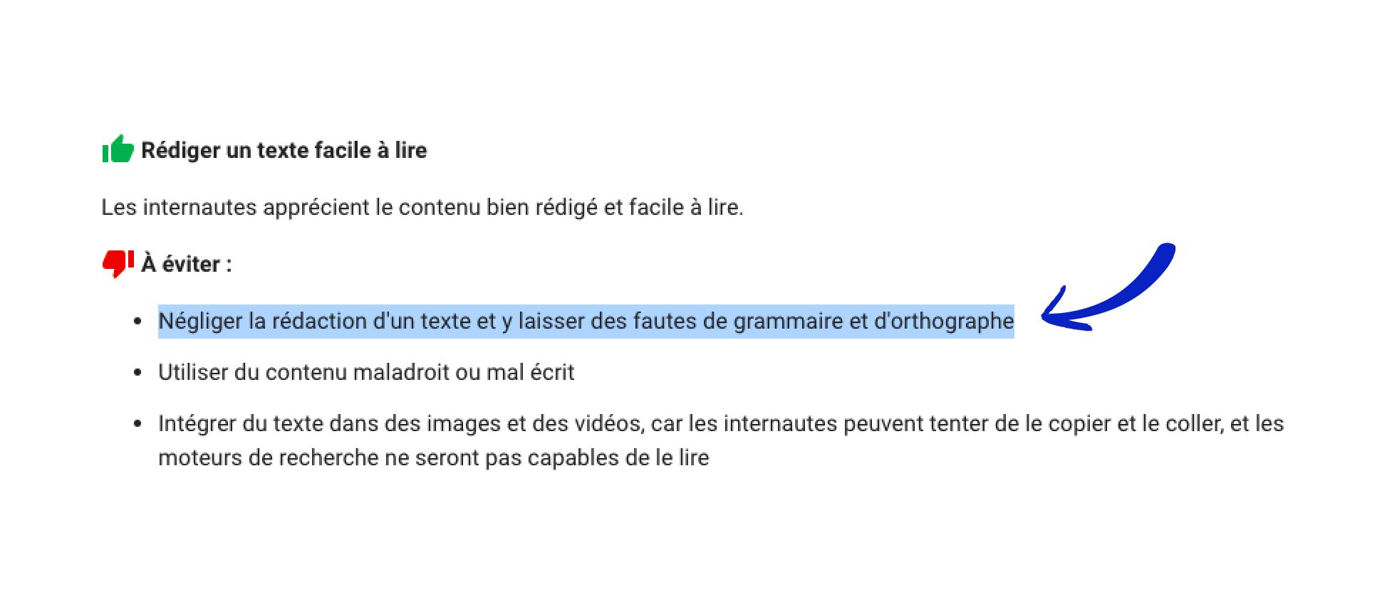 Le guide SEO de Google indique que les fautes de grammaire et d'orthographe sont à éviter