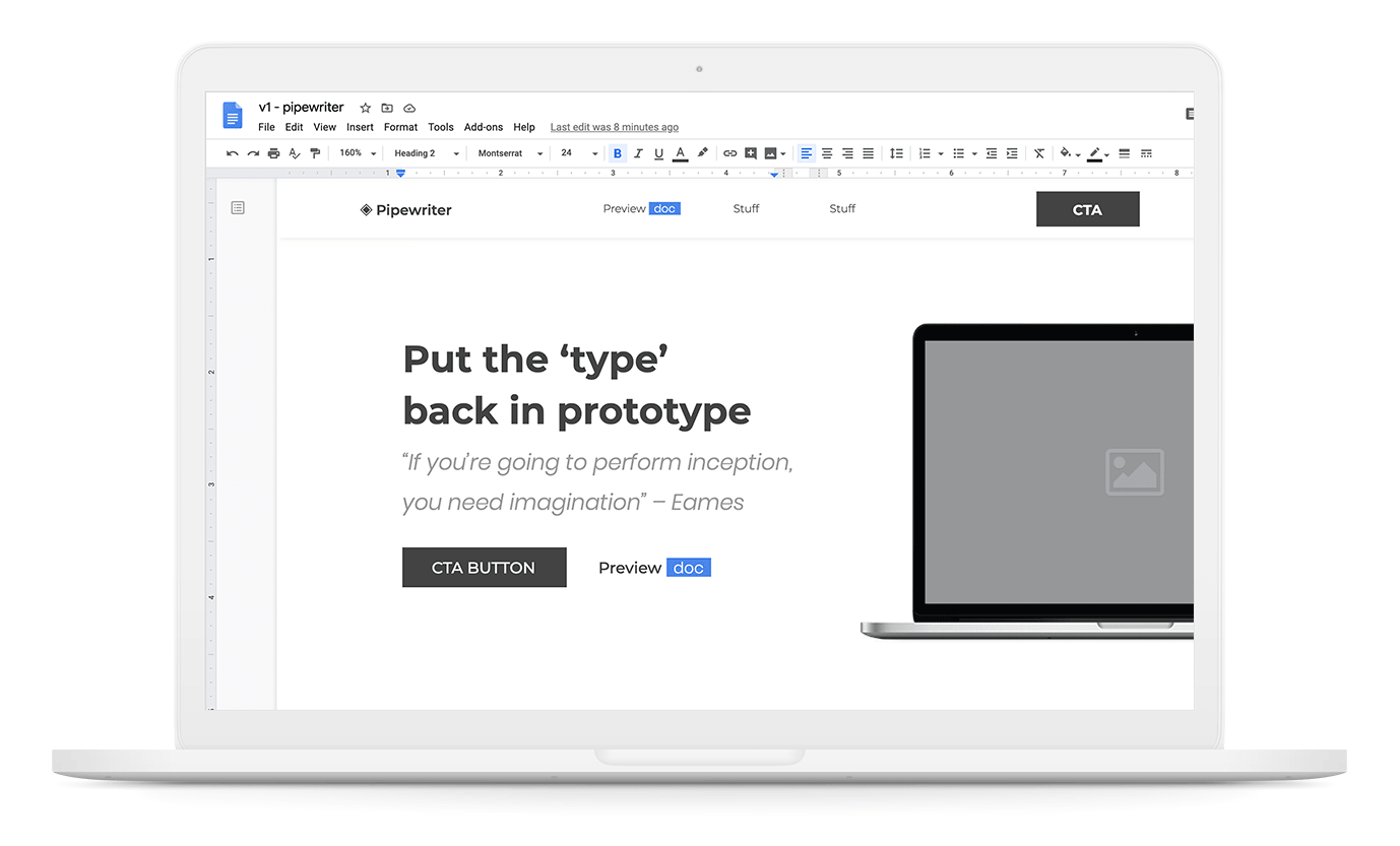 Pipewriter Google Docs template product shot