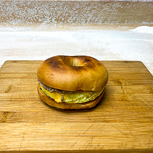 egg sausage and cheese bagel sandwich
