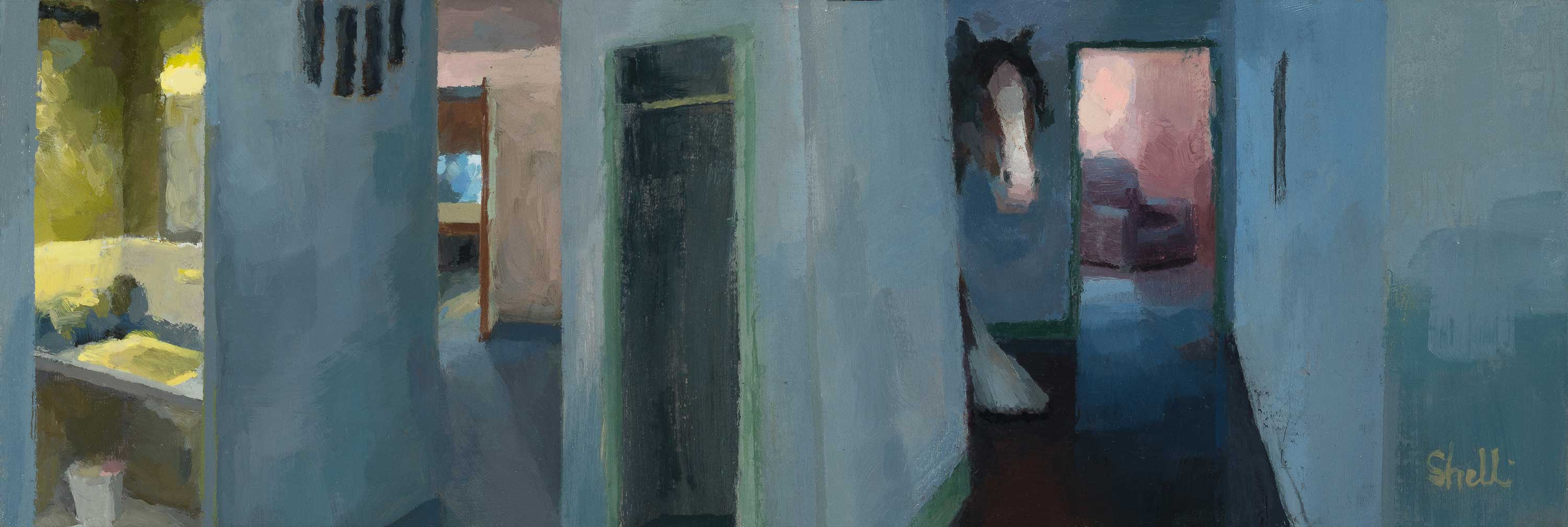 painting of a horse in a hallway