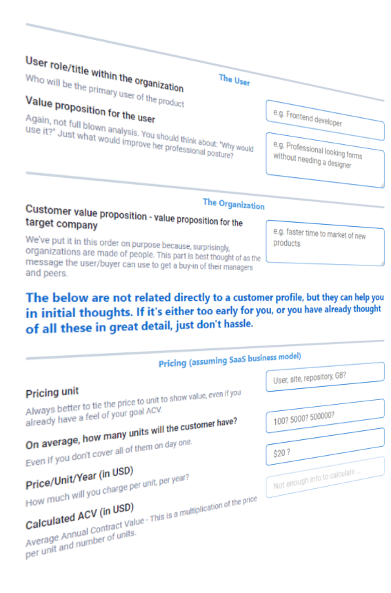 customer discovery form