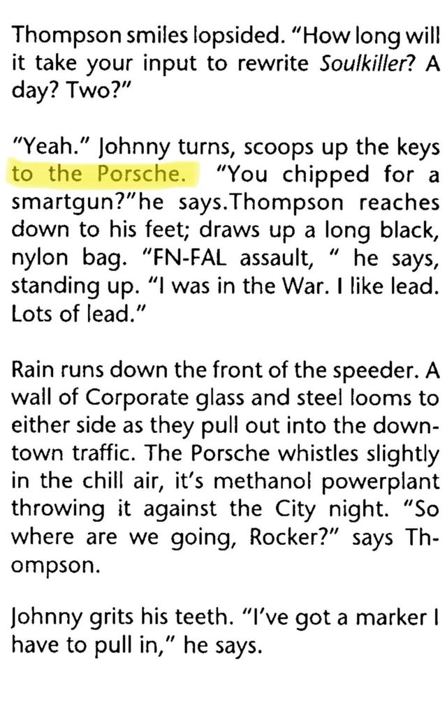 """r/cyberpunkgame - To those who don't know, Johnny Silverhand actually had a Porsche in a mini-adventure """"Never Fade Away"""" featured in Cyberpunk 2020."""