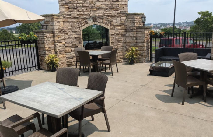 Hooley Montrose patio with fireplace and conversation pit.