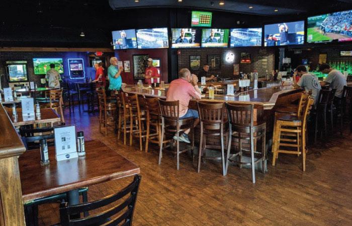Hooley Westlake Bar and high top seating.