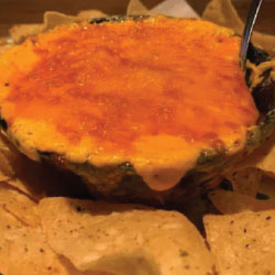 Buffalo Chicken Dip with house-made tortilla chips