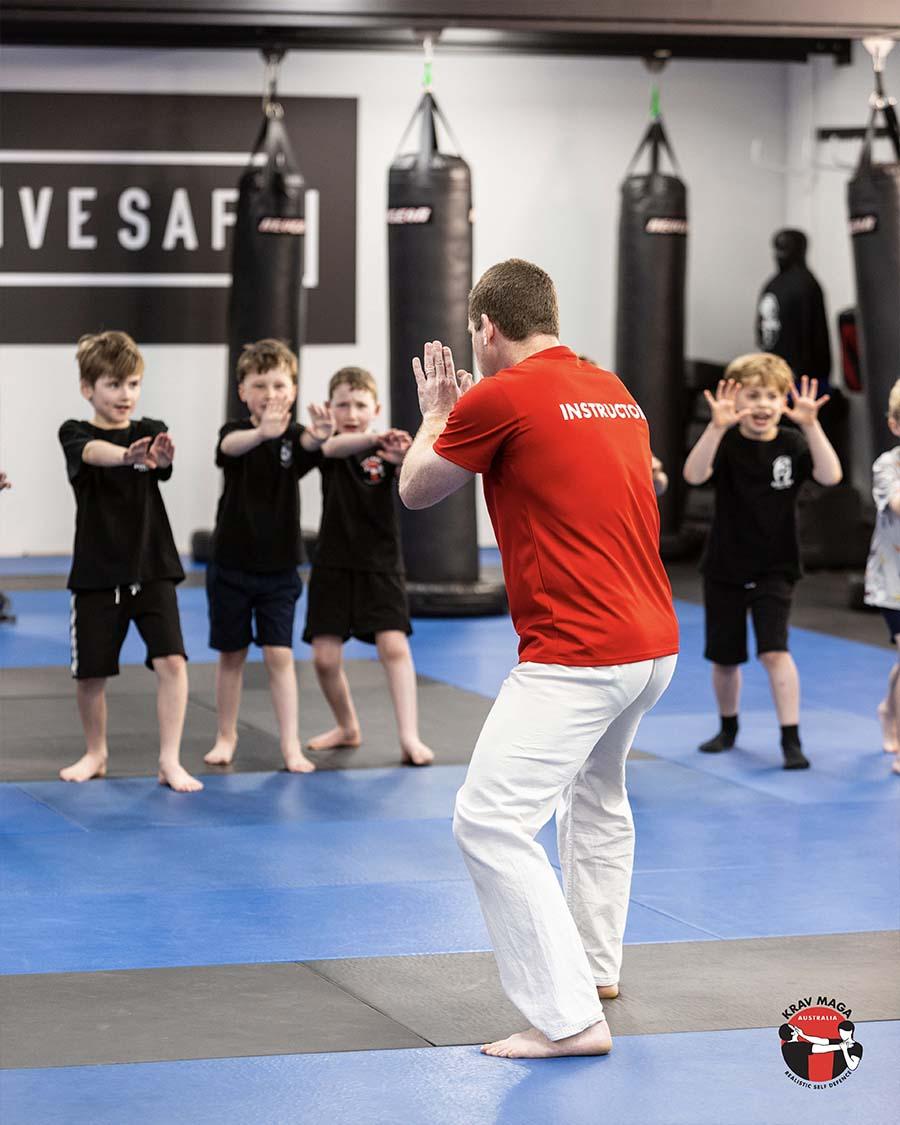 Kids learning Krav Maga from Dave Friedman Image