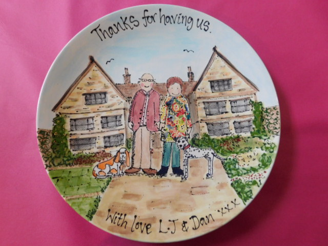 Hand painted caricature plate