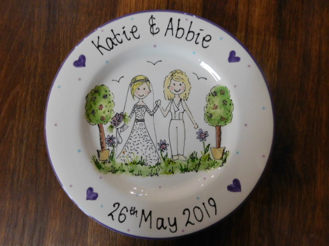 Hand painted wedding commission plate