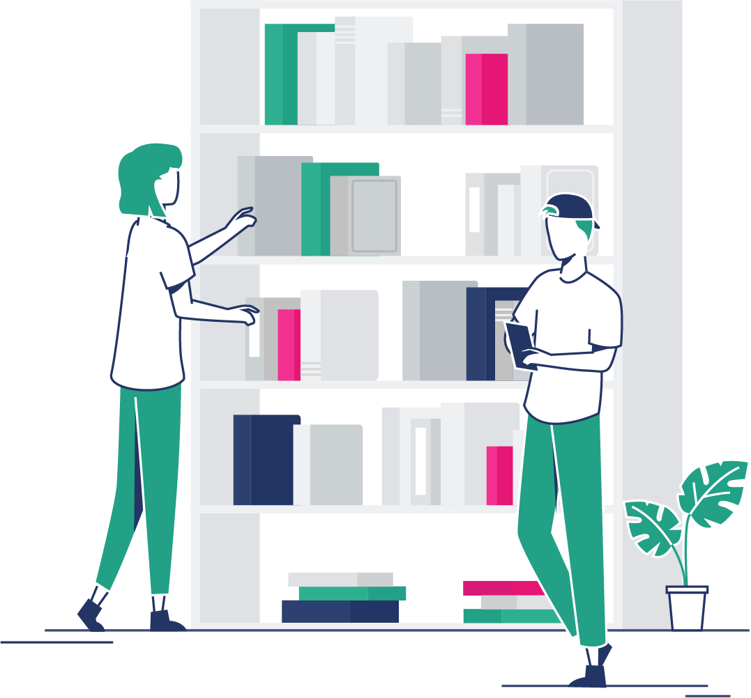 People standing at a bookshelf