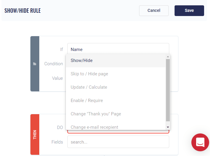 Logic Rules web form builder MightyForms