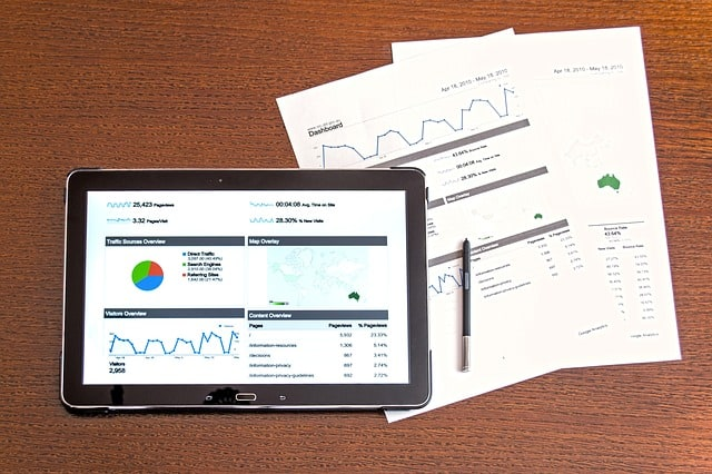 analytics shown on the tablet