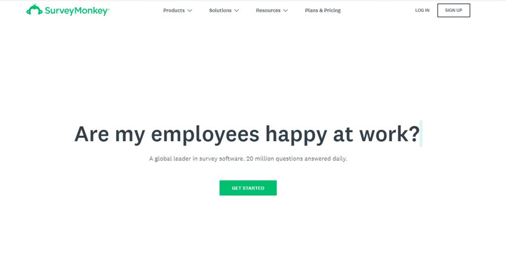 SurveyMonkey Home Page Screenshot