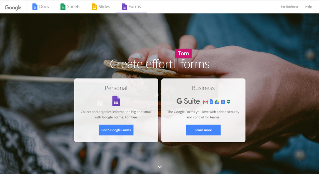 Google Forms Product Page Screenshot