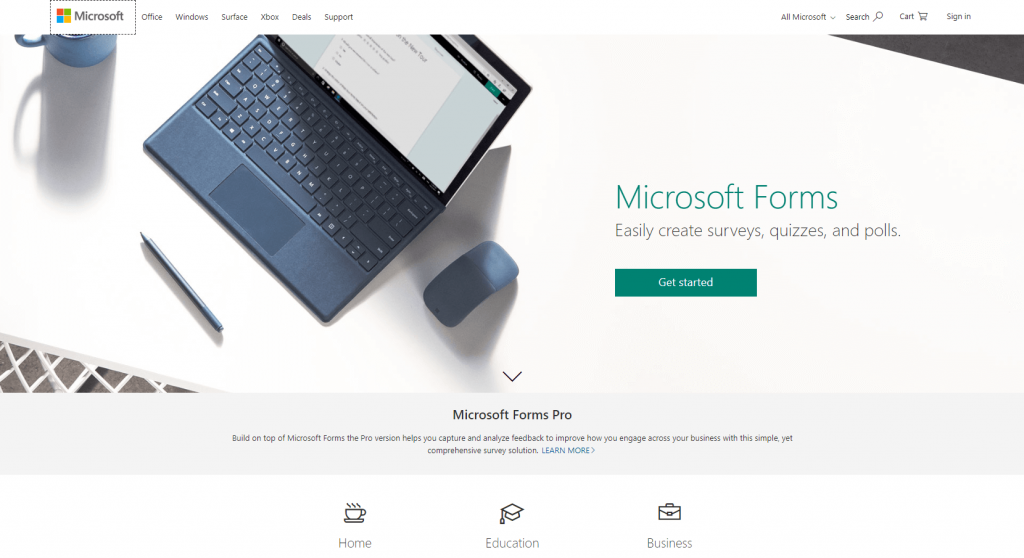 Microsoft Forms Home Page Screenshot