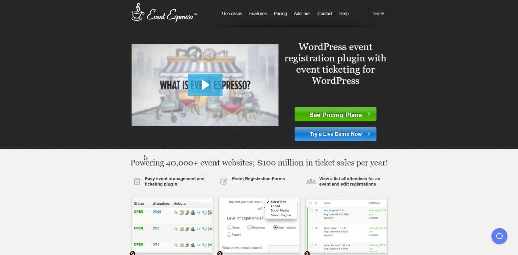 Event Espresso Homescreen Screenshot