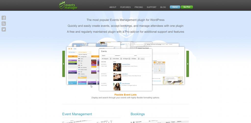 Events Manager Homescreen Screenshot
