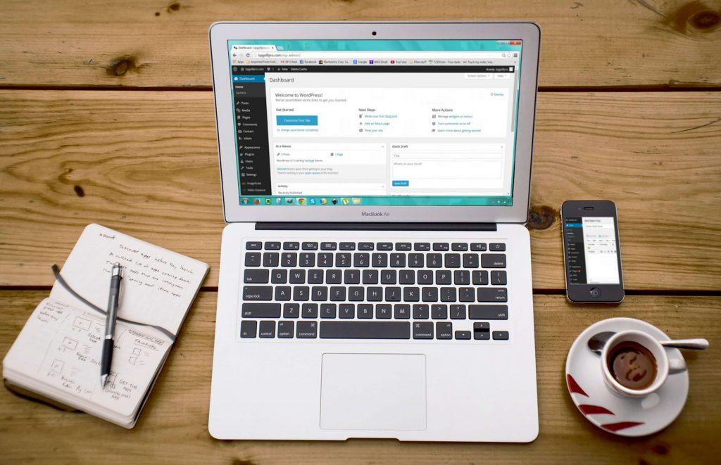 laptop with WordPress onscreen